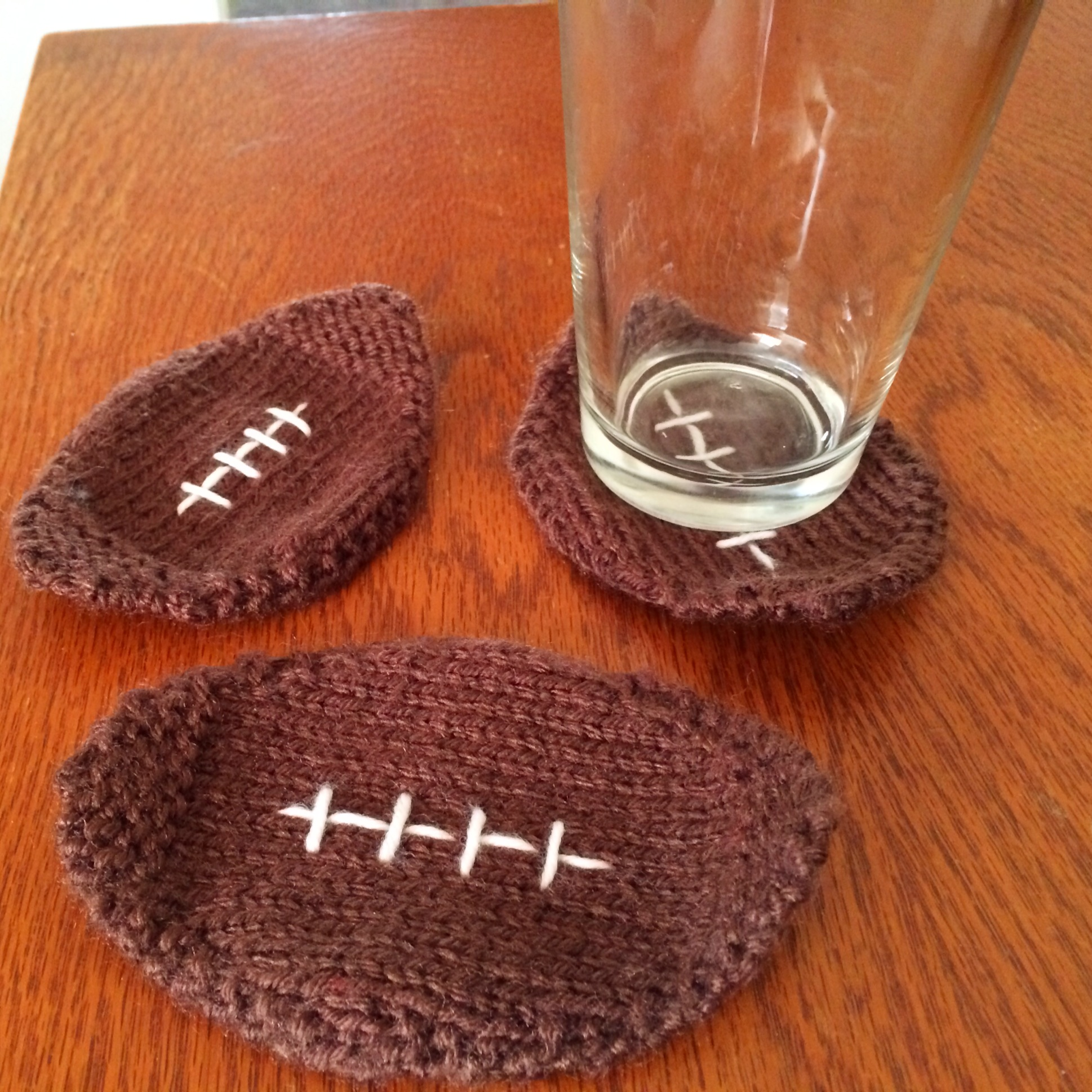 Knitted Football Coasters | knitsbywhit