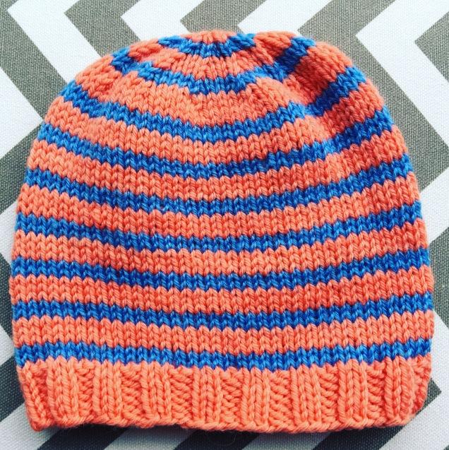 Peach Striped Beanie (toddler size)