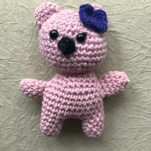 Pink  crochet bear