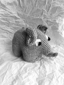 Black and white crochet elephant toy